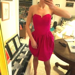 Bright pink vintage strapless dress